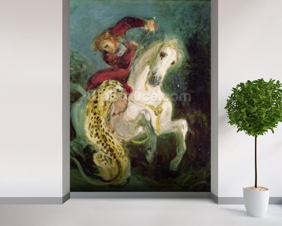 Jaguar Attacking a Horseman, c.1855 (oil on canvas) mural wallpaper room setting