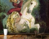 Jaguar Attacking a Horseman, c.1855 (oil on canvas) mural wallpaper kitchen preview