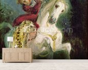 Jaguar Attacking a Horseman, c.1855 (oil on canvas) mural wallpaper living room preview