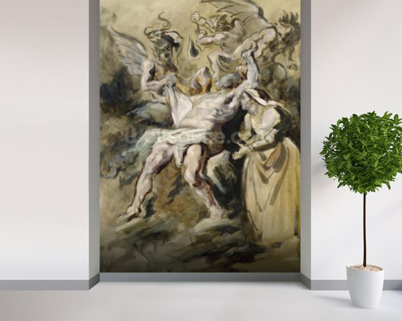 Job Tormented by the Demons (oil on canvas) wall mural room setting