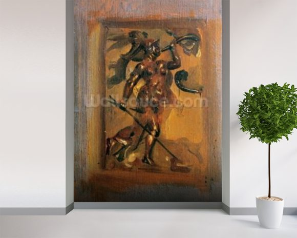 Man in armour blowing a horn (oil on canvas) mural wallpaper room setting