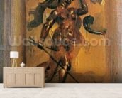 Man in armour blowing a horn (oil on canvas) mural wallpaper living room preview