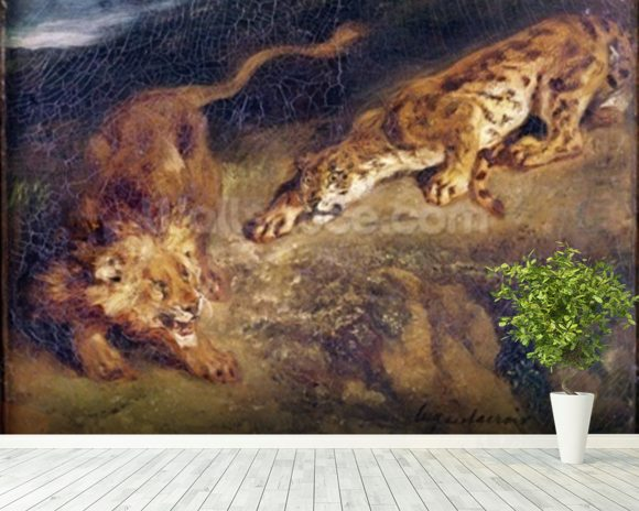 Tiger and Lion (oil on canvas) mural wallpaper room setting