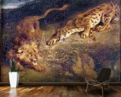 Tiger and Lion (oil on canvas) mural wallpaper kitchen preview