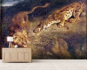 Tiger and Lion (oil on canvas) mural wallpaper living room preview