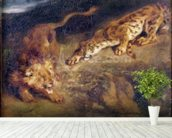 Tiger and Lion (oil on canvas) mural wallpaper in-room view