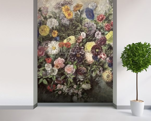 Bouquet of Flowers (w/c, gouache & pastel on paper) wall mural room setting
