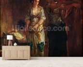 Interior of a Harem in Oran, c.1847 (oil on canvas) wallpaper mural living room preview