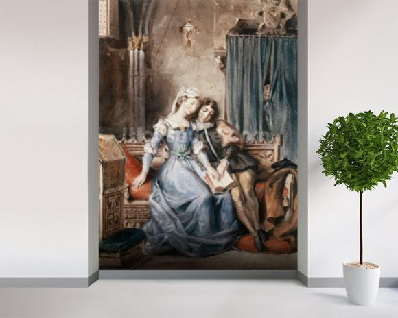 Paolo Malatesta and Francesca da Rimini (w/c on paper) wall mural room setting