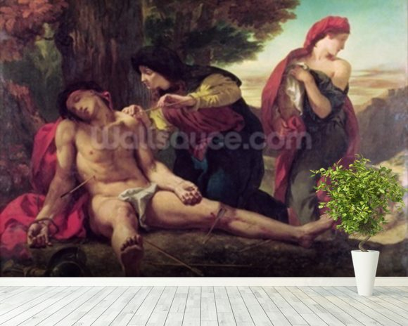 St. Sebastian, 1836 (oil on canvas) wallpaper mural room setting