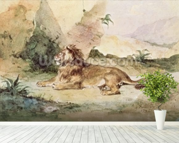 Delacroix ferdinand victor eugene a lion in the desert for Desert mural wallpaper