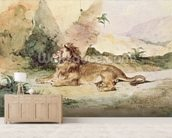 A Lion in the Desert, 1834 (w/c on paper) wall mural living room preview