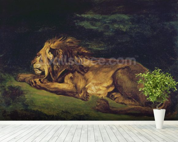 Lion Resting (oil on canvas) wallpaper mural room setting