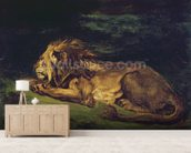 Lion Resting (oil on canvas) wallpaper mural living room preview