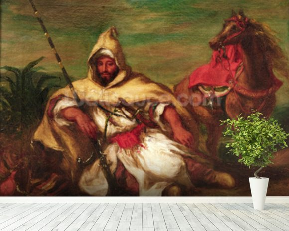 Moroccan soldier sitting near his horse, 1845 (oil on canvas) wallpaper mural room setting