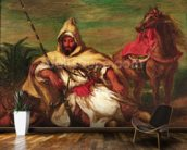 Moroccan soldier sitting near his horse, 1845 (oil on canvas) wallpaper mural kitchen preview