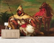 Moroccan soldier sitting near his horse, 1845 (oil on canvas) wallpaper mural living room preview