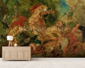 Study for The Lion Hunt, 1854 (oil on canvas) wall mural living room preview