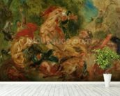 Study for The Lion Hunt, 1854 (oil on canvas) wall mural in-room view