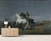 The Horse Thieves, 19th century wallpaper mural living room preview