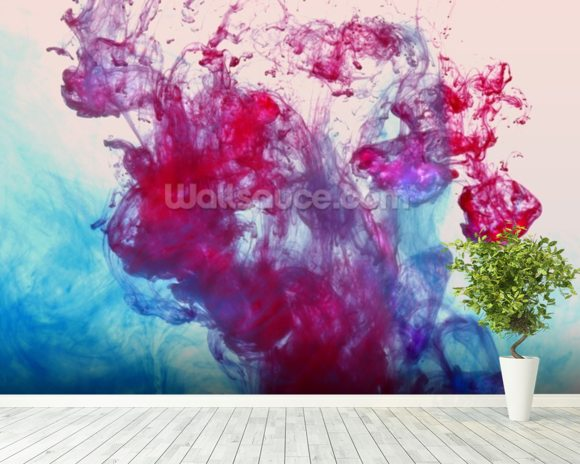 Red and Blue Fluids mural wallpaper room setting