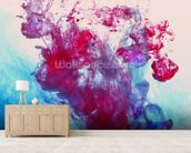 Red and Blue Fluids mural wallpaper living room preview