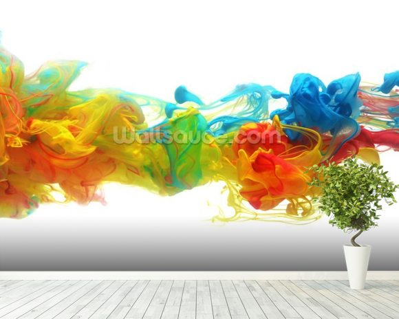 Colourful Ink in Water wall mural room setting