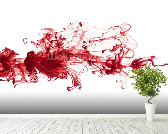Red Ink In Water wall mural room setting