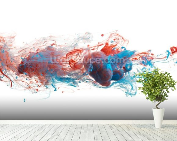 Red and Blue Ink Abstract mural wallpaper room setting