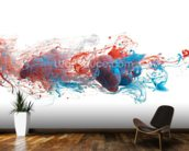Red and Blue Ink Abstract mural wallpaper kitchen preview