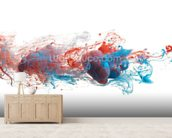 Red and Blue Ink Abstract mural wallpaper living room preview