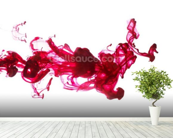 Red Dye in Water wall mural room setting