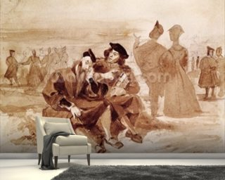 Faust and Wagner in conversation in the countryside, from Faust by Johann Wolfgang von Goethe (1749-1832) 1827 (pen & ink on paper) wall mural