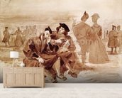 Faust and Wagner in conversation in the countryside, from Faust by Johann Wolfgang von Goethe (1749-1832) 1827 (pen & ink on paper) wall mural living room preview