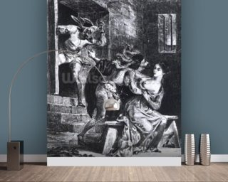 Faust rescues Marguerite from her prison, from Goethes Faust, 1828, (illustration), (b/w photo of litho) wallpaper mural