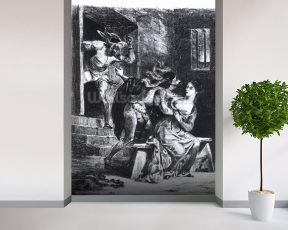 Faust rescues Marguerite from her prison, from Goethes Faust, 1828, (illustration), (b/w photo of litho) wallpaper mural room setting