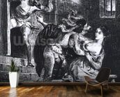 Faust rescues Marguerite from her prison, from Goethes Faust, 1828, (illustration), (b/w photo of litho) wallpaper mural kitchen preview
