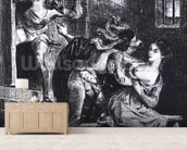 Faust rescues Marguerite from her prison, from Goethes Faust, 1828, (illustration), (b/w photo of litho) wallpaper mural living room preview