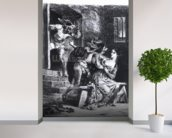 Faust rescues Marguerite from her prison, from Goethes Faust, 1828, (illustration), (b/w photo of litho) wallpaper mural in-room view