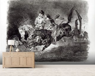 Mephistopheles and Faust riding in the Night, Illustration for Faust by Goethe, 1828 mural wallpaper
