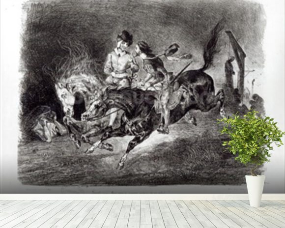Mephistopheles and Faust riding in the Night, Illustration for Faust by Goethe, 1828 mural wallpaper room setting