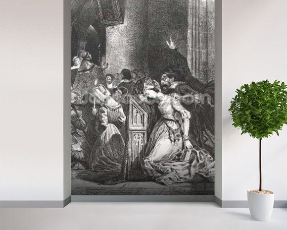 Marguerite in the Church with the Evil Spirits: illustration from Faust by Goethe, 1828 (litho) wallpaper mural room setting
