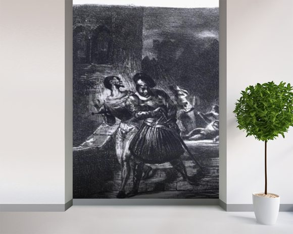 Mephistopheles and Faust escaping after Valentines Death, from Goethes Faust, 1828, (illustration), (b/w photo of lithograph) mural wallpaper room setting