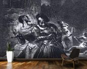 Mephistopheles and Faust escaping after Valentines Death, from Goethes Faust, 1828, (illustration), (b/w photo of lithograph) mural wallpaper kitchen preview