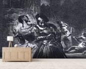 Mephistopheles and Faust escaping after Valentines Death, from Goethes Faust, 1828, (illustration), (b/w photo of lithograph) mural wallpaper living room preview