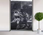 Mephistopheles and Faust escaping after Valentines Death, from Goethes Faust, 1828, (illustration), (b/w photo of lithograph) mural wallpaper in-room view