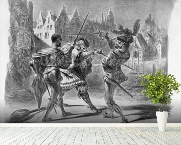 Duel between Faust and Valentine, from Goethes Faust, after 1828, (illustration), (b/w photo of lithograph) wall mural room setting