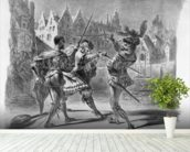 Duel between Faust and Valentine, from Goethes Faust, after 1828, (illustration), (b/w photo of lithograph) wall mural in-room view
