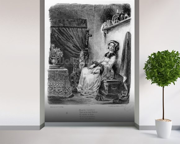 Marguerite in her Room, from Goethes Faust, (illustration), (b/w photo of lithograph) wallpaper mural room setting