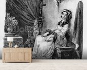 Marguerite in her Room, from Goethes Faust, (illustration), (b/w photo of lithograph) wallpaper mural living room preview